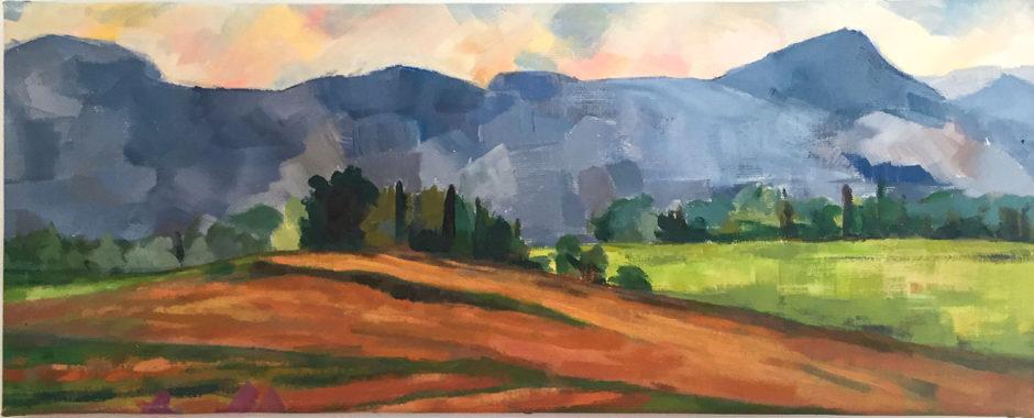 Le Mont Le Mont Aurélien, huile sur toile, 60x24- Huile sur toile