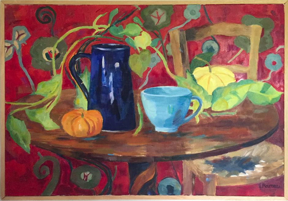 Nature Morte en Rouge, huile sur toile, 73x50