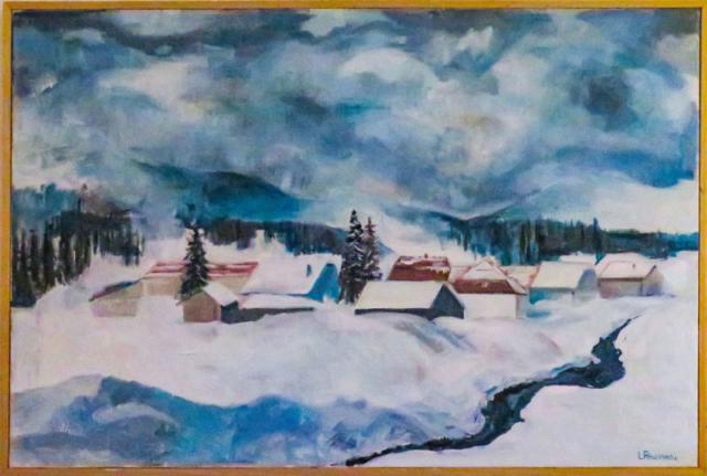 Tempête de Neige à Mouthe - huile sur toile - 81x54